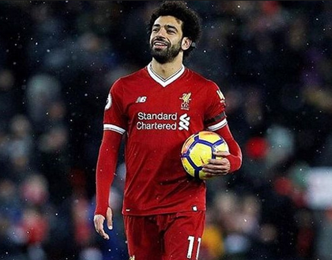 Mohamed Salah on Liverpool jersey
